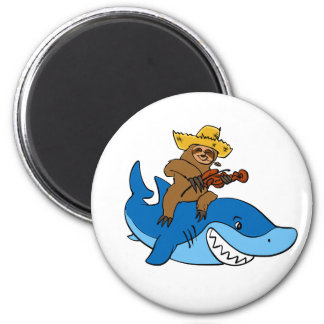 Hick sloth mounted on shark magnet