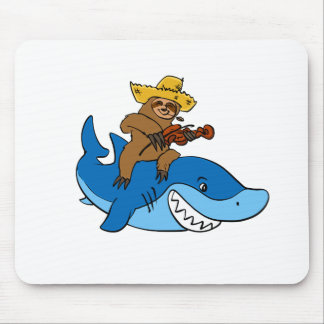 Hick sloth mounted on shark mouse pad