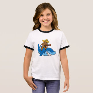 Hick sloth mounted on shark ringer T-Shirt