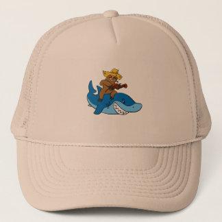 Hick sloth mounted on shark trucker hat