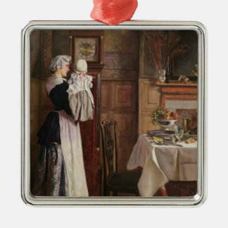 Hickory, Dickory, Dock Silver-Colored Square Ornament