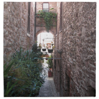Hidden alley in old village of Spello, Italy Napkins