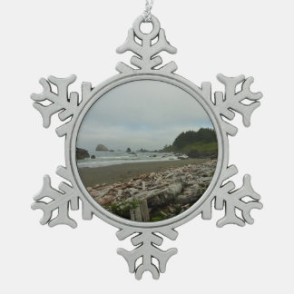 Hidden Beach I at Redwood National Park Pewter Snowflake Ornament