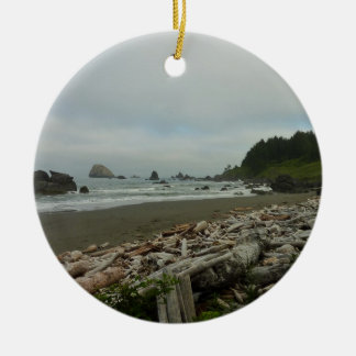 Hidden Beach I at Redwood National Park Round Ceramic Ornament