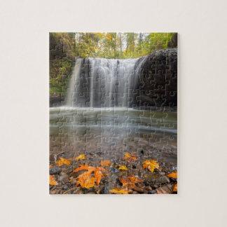 Hidden Falls in Clackamas Oregon fall season Jigsaw Puzzle