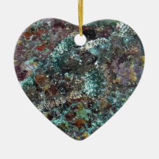 Hidden Fish Under Water Natural Camo Ceramic Heart Ornament