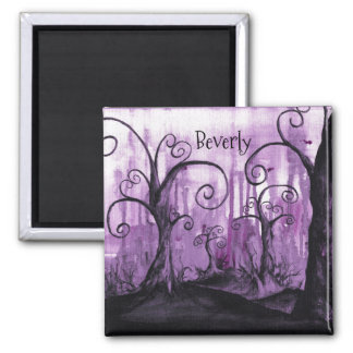 Hidden Hearts Trees Purple Fantasy Art Your Name Magnet
