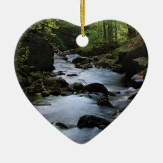 hidden stream in forest ceramic ornament