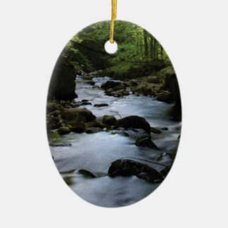 hidden stream in forest ceramic ornament