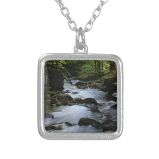 hidden stream in forest silver plated necklace