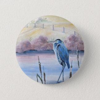 Hidden Valley Blue Heron Pastel Acrylic Art 2 Inch Round Button