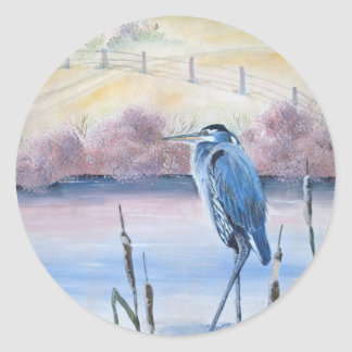 Hidden Valley Blue Heron Pastel Acrylic Art Classic Round Sticker