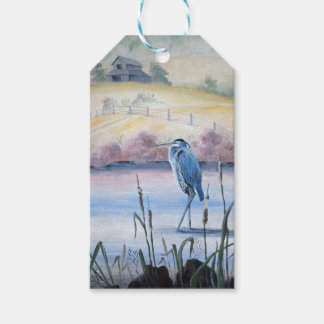 Hidden Valley Blue Heron Pastel Acrylic Art Gift Tags