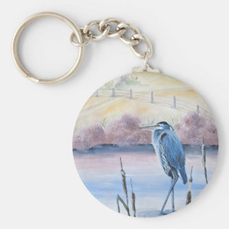 Hidden Valley Blue Heron Pastel Acrylic Art Keychain