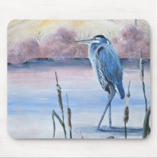 Hidden Valley Blue Heron Pastel Acrylic Art Mouse Pad