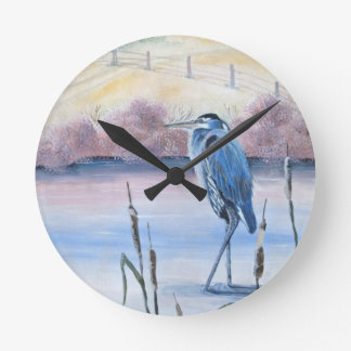 Hidden Valley Blue Heron Pastel Acrylic Art Round Clock