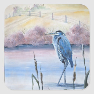 Hidden Valley Blue Heron Pastel Acrylic Art Square Sticker