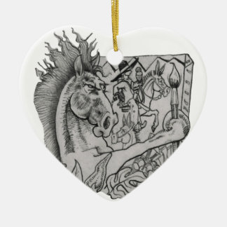 Hidden Wallow Ringo The Horse Ceramic Heart Ornament