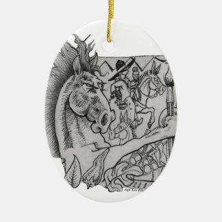 Hidden Wallow Ringo The Horse Ceramic Oval Ornament