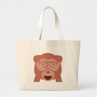 Hide and seek Emoji Monkey Large Tote Bag