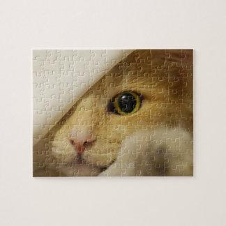 Hide and Seek Kitten under Blanket Jigsaw Puzzle