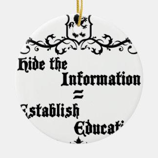 Hide The Information Establish Education Ceramic Ornament