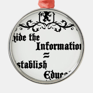 Hide The Information Establish Education Metal Ornament