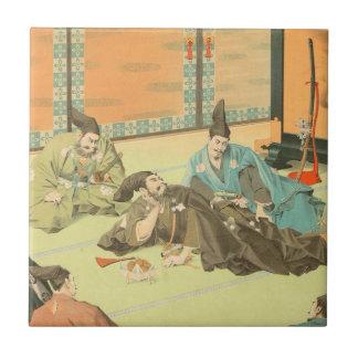 Hideyoshis Patience vintage japanese samurai art Tile