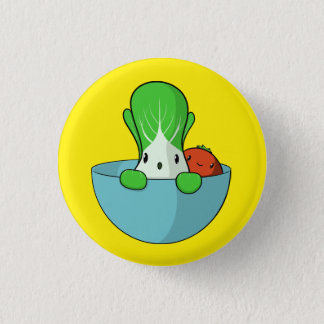 Hiding Bok Choy and Tomato 1 Inch Round Button