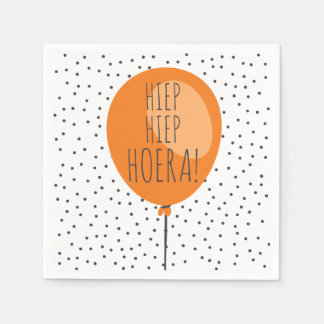 Hiep Hiep Hoera Orange Balloon Dutch Birthday Disposable Napkins