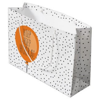 Hiep Hiep Hoera Orange Balloon Dutch Birthday Large Gift Bag