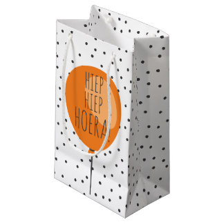 Hiep Hiep Hoera Orange Balloon Dutch Birthday Small Gift Bag