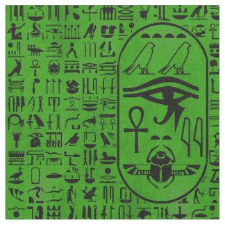 Hieroglyphics Green Fabric