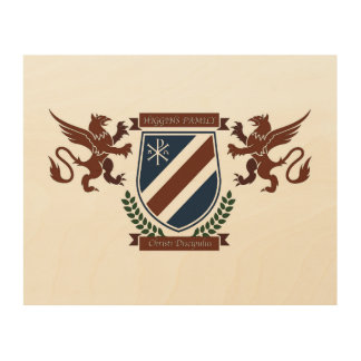 Higgins Family Crest Wall Plaque Wood Canvas