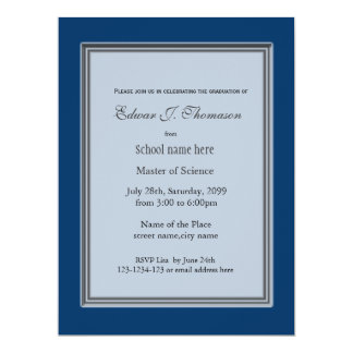 High achievement blue graduation announcement