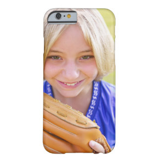 High angle portrait of a softball player smiling barely there iPhone 6 case