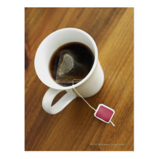 High angle view of a cup of tea postcard