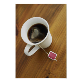 High angle view of a cup of tea poster