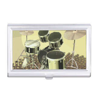 High angle view of a drum kit business card holder