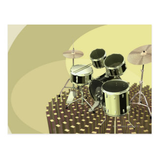 High angle view of a drum kit postcard