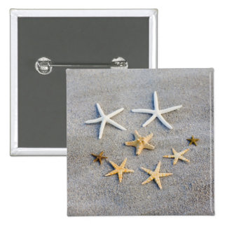 High angle view of a starfish on the beach 2 inch square button