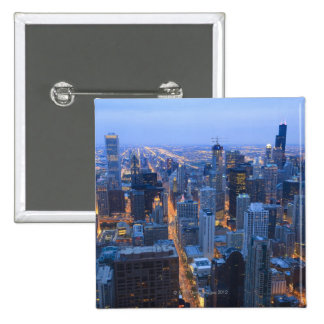 High angle view of Chicago looking south from 2 Inch Square Button