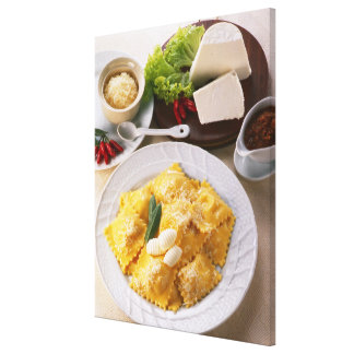 high angle view of stuffed ravioli served with canvas print