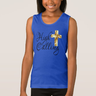 High Calling with Cross and Scripture Tank Top