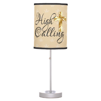 High Calling with Gold Cross on Crowns Table Lamp
