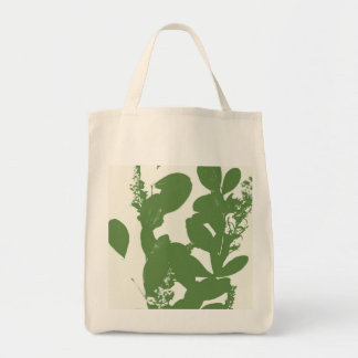 High Contrast Silhouette Leaf Design Tote Bag