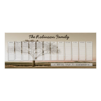 High Country Family Perpetual Calendar Custom Poster
