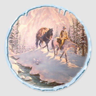 HIGH COUNTRY & ICICLES by SHARON SHARPE Round Sticker