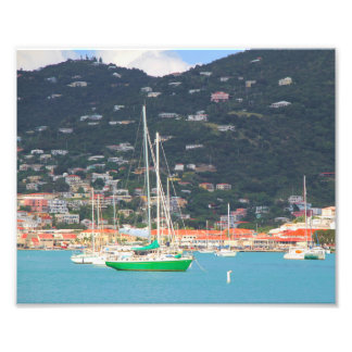 High def photography of St. Thomas, hillside, boat Photo Art