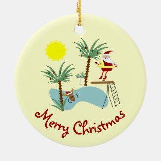 High Diving Santa Holiday Ornament